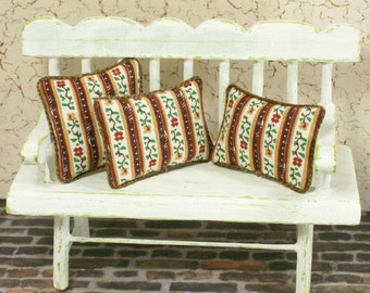 Brown Stripe Calico Pillows Cushions Floral 1:2 Dollhouse Miniatures Artisan