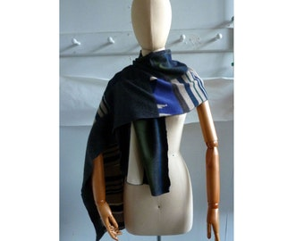 recycled cashmere scarf in blue tan taupe gray Intarsia stripe shawl wrap 116