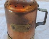 vintage PEPPER SHAKER --copper and brass-- farm style (1960s)
