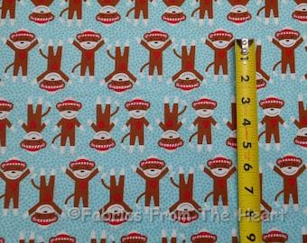 Critter Club Sock Moneky w Heart on BLue BY YARDS Robert Kaufmam Cotton Fabric