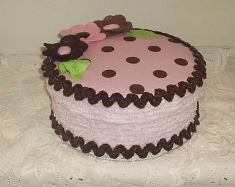 Fake Cake Centerpiece/Gift Box for Birthday Gift in pink and brown polka dots, with felt flowers, chenille and rickrack