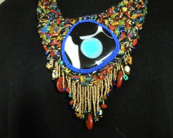 FREE SHIP Niza Streambed Leaves knit seed bead embroidery necklace with black, blue and white fused glass cabochon - BearlyArtDesigns