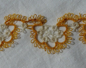 Hand Made Tatted Lace, Yellow and White