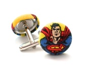 Superman Cufflinks, Fabric Button, Comic, Comic Con, Groomsmen, Wedding Accessory, Stocking Stuffer