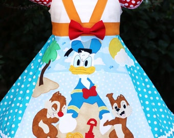 Donald Duck with Chip and Dale Disney Cruise Dress Sizes 1 2 3 4 5 6 7 8