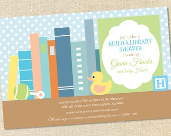 Sweet Wishes Boys Stock the Library Baby Shower Invitations - PRINTED - Digital File Also Available
