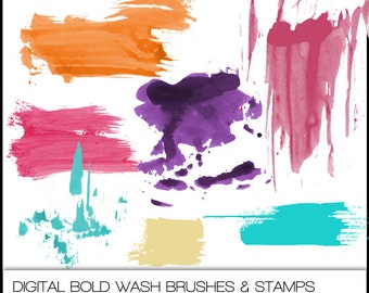 Bold Wash Digital Brushes & Stamps. Instant Download. Photoshop Brushes for Personal and Limited Commercial Use.