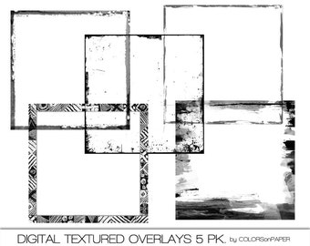 Textured Digital Overlays. Five different designs. 12x12 Png Files. Personal and Limited Commercial Use.