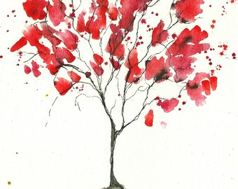 2014 Rose Red Tree, ORIGINAL 5 x 7, watercolor and ink