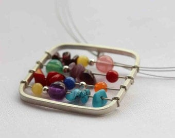 Small  Abacus - Colorful - Sterling silver - Perfect gift for a teacher
