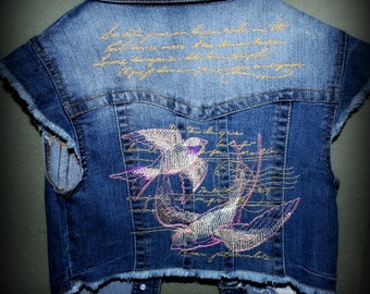 Embroidered Cropped Denim Vest with Paris Love Letter Theme, Postmark, France, OOAK, Frayed, Sleeveless