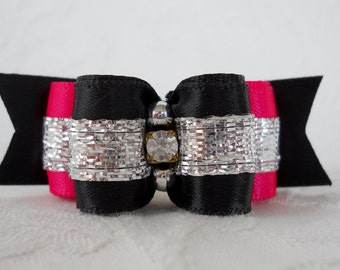 "DOG BOW- 5/8"" Miami  Pink Dog Bow"