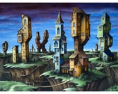 Quake Village, 11x14 fine art matted giclee print reproduction of an original oil painting