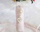 Crystal Heart Bouquet Charm,  Brides Gift, One Only