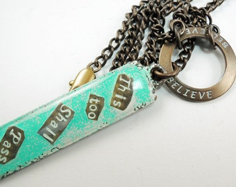 This Too Shall Pass Hand painted Necklace, Brass chain Necklace, Bright Turquoise Blue