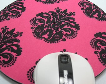 Buy 2 FREE SHIPPING Special!!   Mouse Pad, Computer Mouse Pad, Round Fabric Mouse Pad or Trivet      Black Damask on Fuchsia