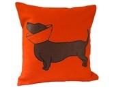 Orange Cone Dog Pillow  / Dachshund Pillow / Dotson Pillow / Wiener Dog / Dog Pillow / Cone Dog Pillow