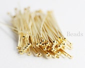 100pcs Gold Plated Brass Base Umbrella Head Pins-50mm (2 Inch)-20 Gauge (330C-I-78)