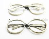 2pcs Antique Brass Tone Base Metal Charms - Glasses 59x25mm (227C-R-208)