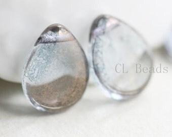 6pcs Czech Table Cut Polished Drops-Crystal Moon Dust 16x12mm (1216MD0003) (B-13-14)