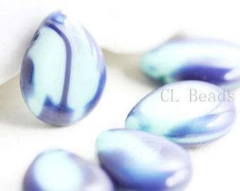 6pcs Czech Table Cut Polished Drops-Denim/Turquoise 16x12mm (121657334) (B-14-6)