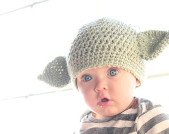 The Kisses Co. Yoda Beanie - Crochet Star Wars Hat - Baby Infant Toddler Child Adult - Made to Order