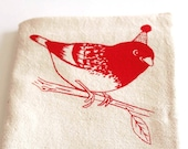 Flour Sack Dish Towel - Party Bird Screen Printed in raspberry red - 100% cotton tea towel