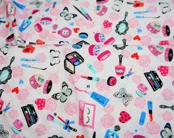 Lolita fabrics cosmetic theme half meter soft pink background color  (HAKO12A)