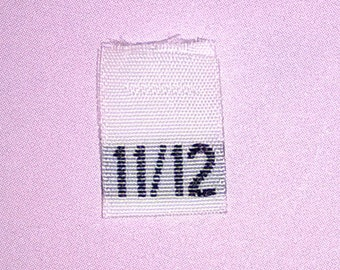 Size 11/12 (Eleven-Twelve) Woven Clothing Size Tags (Package of 250)
