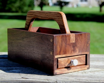 Walnut Tool Tote with Drawer