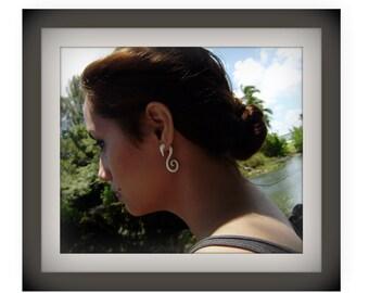 Fake gauge earrings,Small Natural Bone ,Split Gauge Earrings,tribal style,naturally oraganic,hand carved