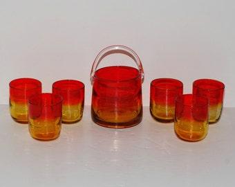 Vintage Amberina Glass Tangerine Ice Bucket & Glasses Set, Set of 7
