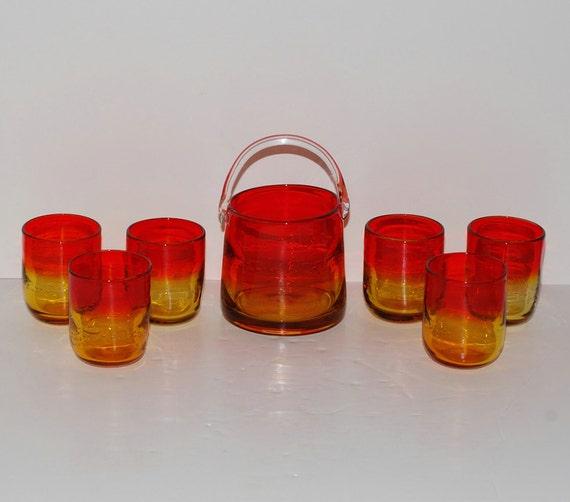 seau glace mandarine verre vintage anas verres jeu. Black Bedroom Furniture Sets. Home Design Ideas