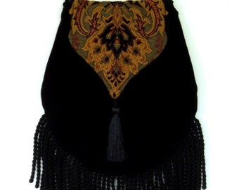 Fringed Tapestry Black Velvet Gypsy Bag Black Cross Body Bag Bohemian  Hippie bag Festival Bag Renaissance bag Boho Bag