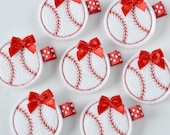 Red and White Baseball Felt Hair Clip - Sports Felt Clippies - Perfect for your little t ball player - Baseball hair clip with non slip grip