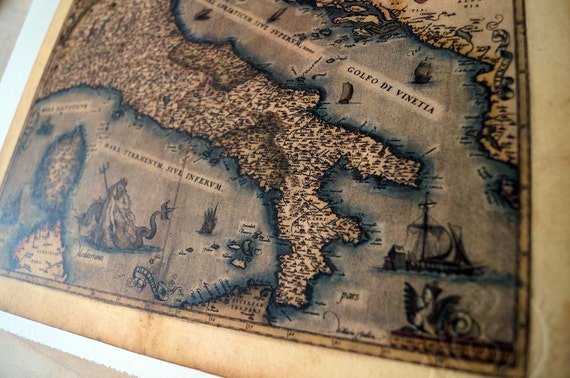 "Italy - Antique Map Print on Eco Bamboo paper with textured edge - Made in Canada! 8.5"" x 11"" & 11"" x 17"""