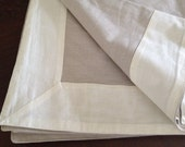 "Beige and off white square linen table cloth 65""x63"""