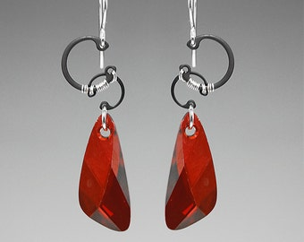 Red Giant II v7: Red magma Swarovski crystal wire wrapped industrial pendant