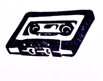 Mix Tape Stamp - Hand Carved Rubber Stamp