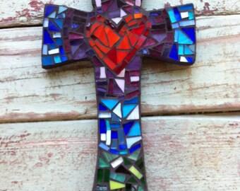 Medium Mosaic cross with heart- purples, blues, greens