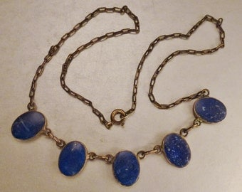 RUSSIAN LAPIS Necklace Five large bezels double sides Silver vintage stunning  Necklace 16 in Wedding blue