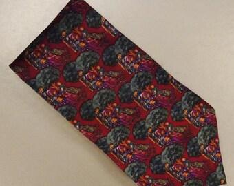 Designer Neck TIE Designer LIBERTY of London Silk tweel handmade 1980s  Dead Stock  58 x 3plus in