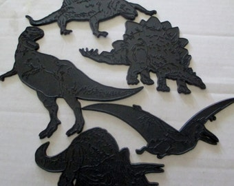 Five Vintage 1980s Plastic Dinosaur Pieces  for craft projects