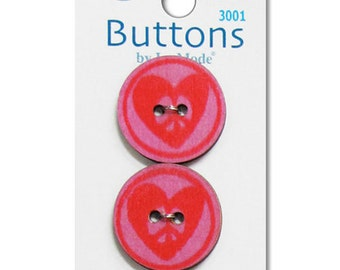 Clearance BUTTONS Wooden PEACE and HEARTS buttons