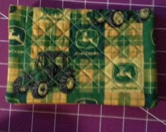 John Deere Tractor  quilted Fabric Checkbook Cover Homemade