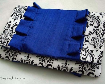 Sale - Ruffle Clutch - White and Black Damask with Royal Blue Dupioni Silk - Ready to Ship