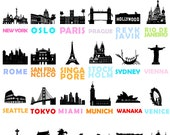 City Prints: Set of 6 Prints // City Art Posters // Travel // Wedding Gift