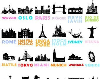 City Prints: Set of 6 Prints // City Art Posters // Travel // Wedding Gift