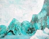 The Aqua Frost Range, framed art, encaustic painting
