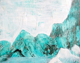 Encaustic Wax Painting, mountain painting, 40% off coupon code: GREENGOLD
